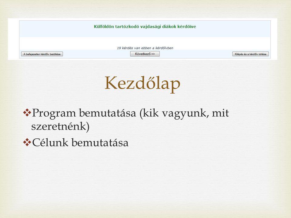 Kezdőlap  Program bemutatása (kik vagyunk, mit szeretnénk)  Célunk bemutatása