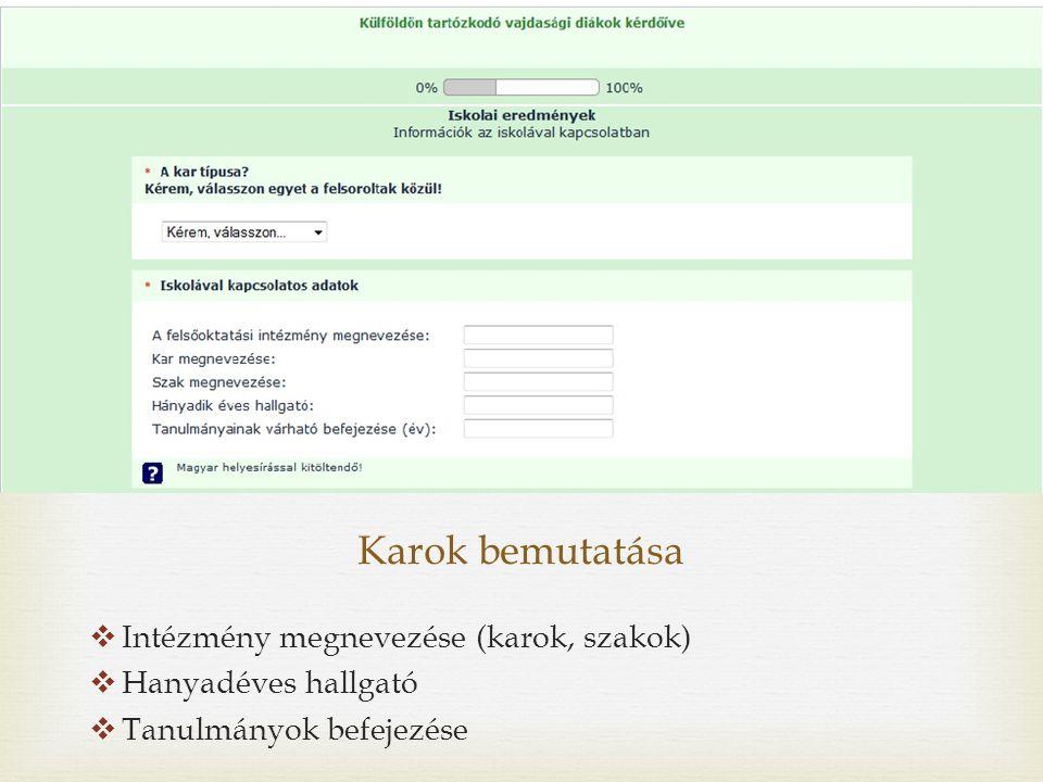 Karok bemutatása  Intézmény megnevezése (karok, szakok)  Hanyadéves hallgató  Tanulmányok befejezése