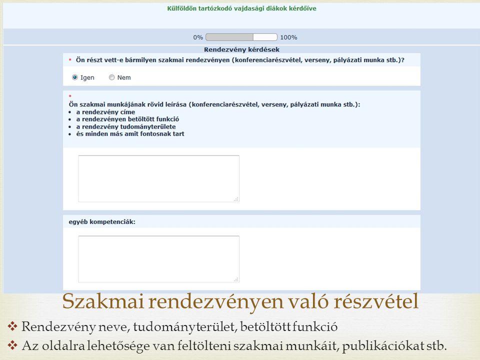  Rendezvény neve, tudományterület, betöltött funkció  Az oldalra lehetősége van feltölteni szakmai munkáit, publikációkat stb.