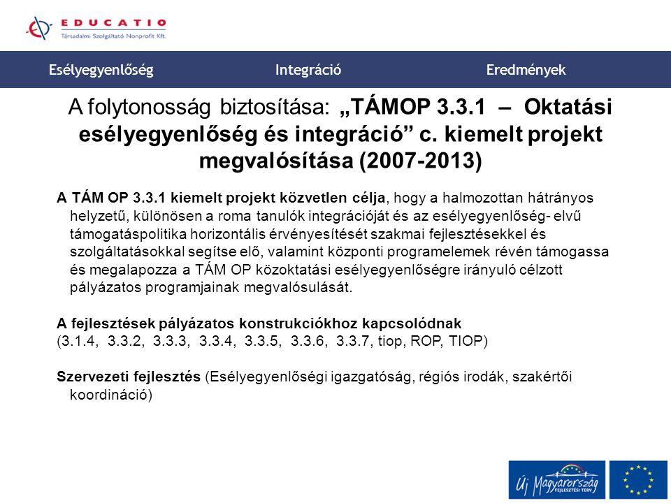 """8 A folytonosság biztosítása: """"TÁMOP 3.3.1 – Oktatási esélyegyenlőség és integráció c."""