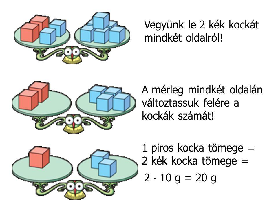 Vegyünk le 2 kék kockát mindkét oldalról! A mérleg mindkét oldalán változtassuk felére a kockák számát! 1 piros kocka tömege = 2 kék kocka tömege = 2