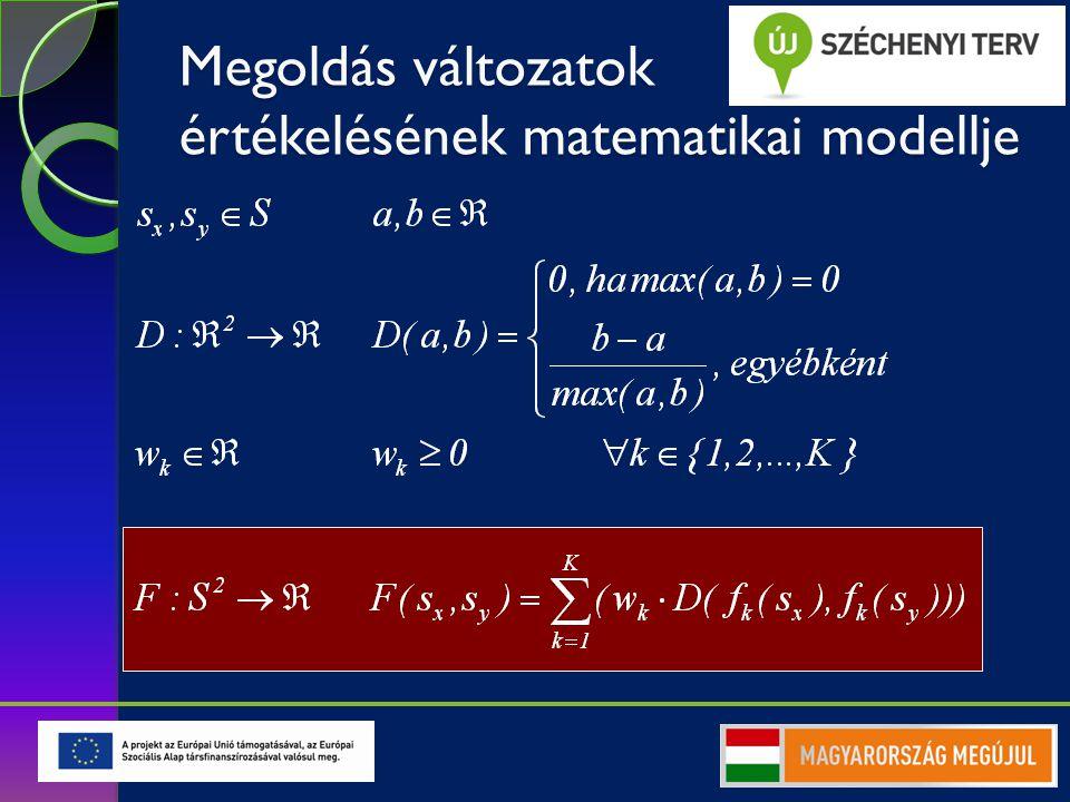 Többcélú optimalizálás  Döntési változók  Korlátozások, feltételek  Célfüggvények egy megengedett megoldás a megengedett megoldások halmaza egy célfüggvény, a célfüggvények száma