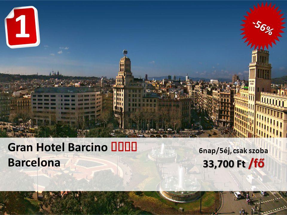 Gran Hotel Barcino  Barcelona 33,700 Ft /fő 6nap/5éj, csak szoba 33,700 Ft /fő -56% 1