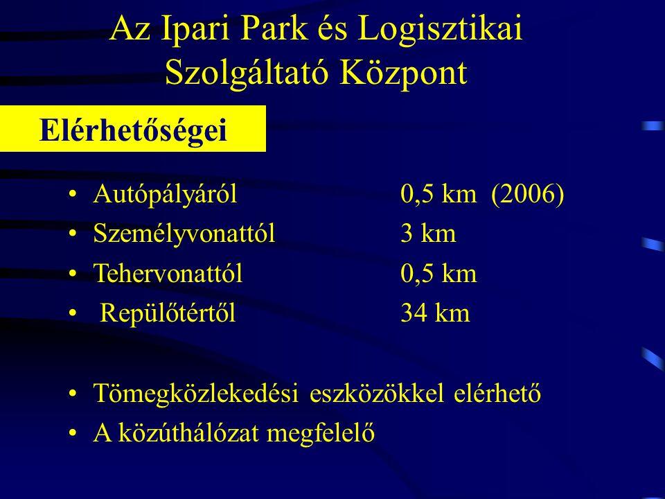 Az Ipari Park és Logisztikai Szolgáltató Központ •Autópályáról 0,5 km (2006) •Személyvonattól 3 km •Tehervonattól0,5 km • Repülőtértől34 km •Tömegközlekedési eszközökkel elérhető •A közúthálózat megfelelő Elérhetőségei