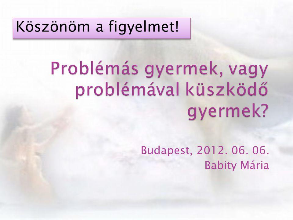 Budapest, 2012. 06. 06. Babity Mária Köszönöm a figyelmet!