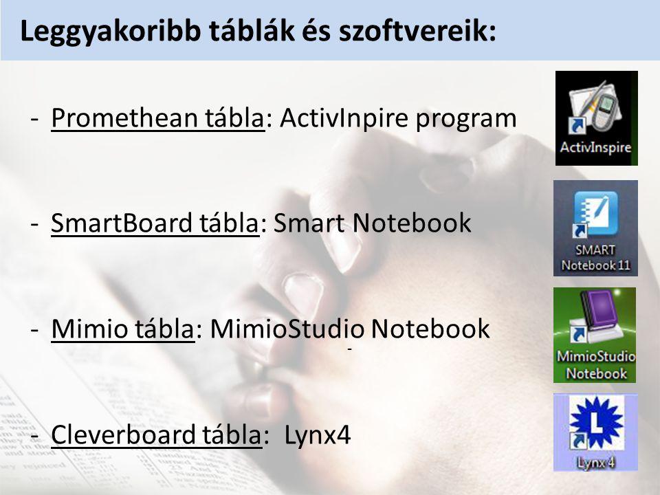 -Promethean tábla: ActivInpire program -SmartBoard tábla: Smart Notebook -Mimio tábla: MimioStudio Notebook -Cleverboard tábla: Lynx4 - Leggyakoribb táblák és szoftvereik: