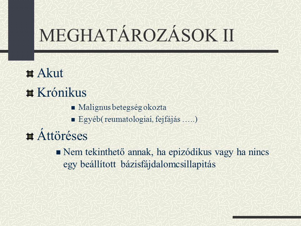MEGHATÁROZÁSOK II Akut Krónikus  Malignus betegség okozta  Egyéb( reumatologiai, fejfájás …..) Áttöréses  Nem tekinthető annak, ha epizódikus vagy