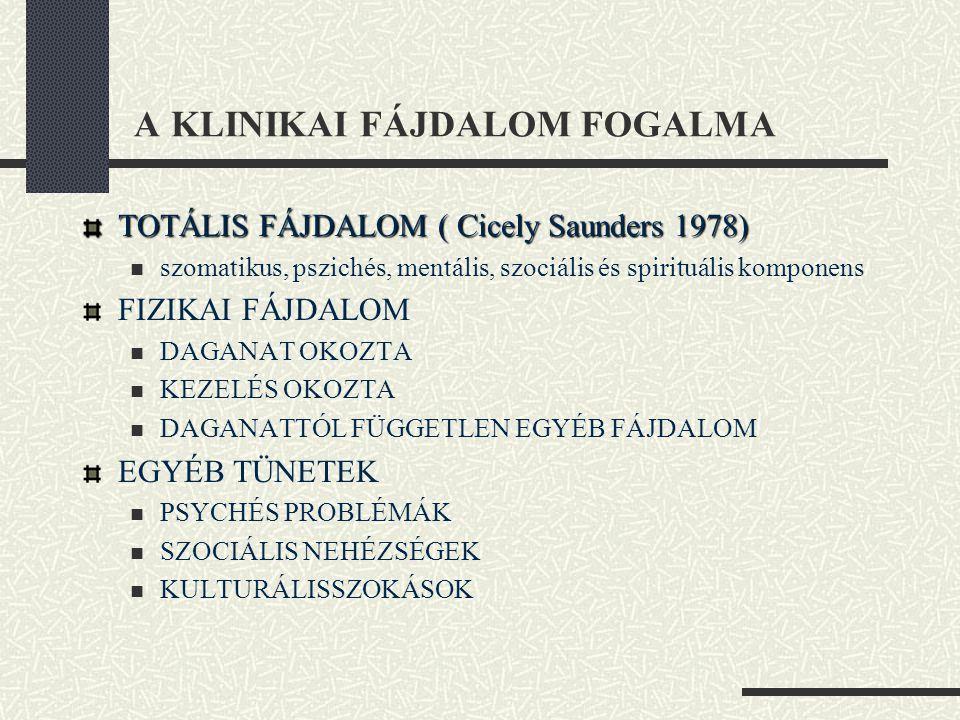 A KLINIKAI FÁJDALOM FOGALMA TOTÁLIS FÁJDALOM ( Cicely Saunders 1978)  szomatikus, pszichés, mentális, szociális és spirituális komponens FIZIKAI FÁJD