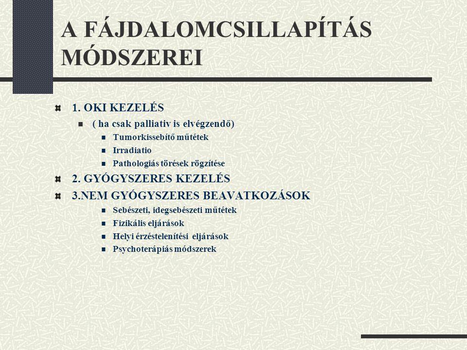 A FÁJDALOMCSILLAPÍTÁS MÓDSZEREI 1. OKI KEZELÉS  ( ha csak palliativ is elvégzendő)  Tumorkissebítő műtétek  Irradiatio  Pathologiás törések rögzít