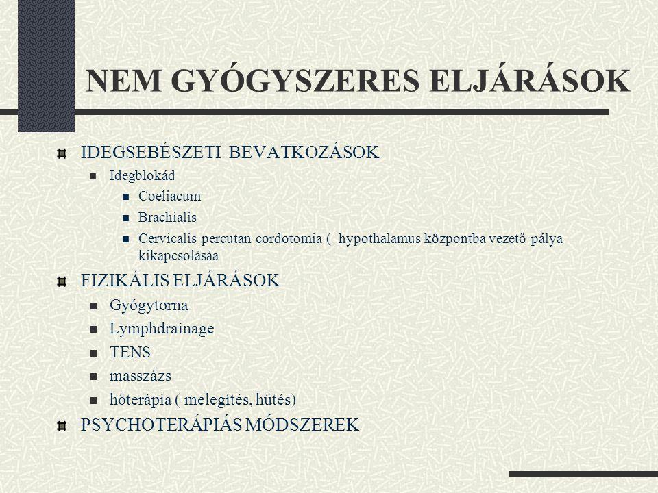 NEM GYÓGYSZERES ELJÁRÁSOK IDEGSEBÉSZETI BEVATKOZÁSOK  Idegblokád  Coeliacum  Brachialis  Cervicalis percutan cordotomia ( hypothalamus központba v