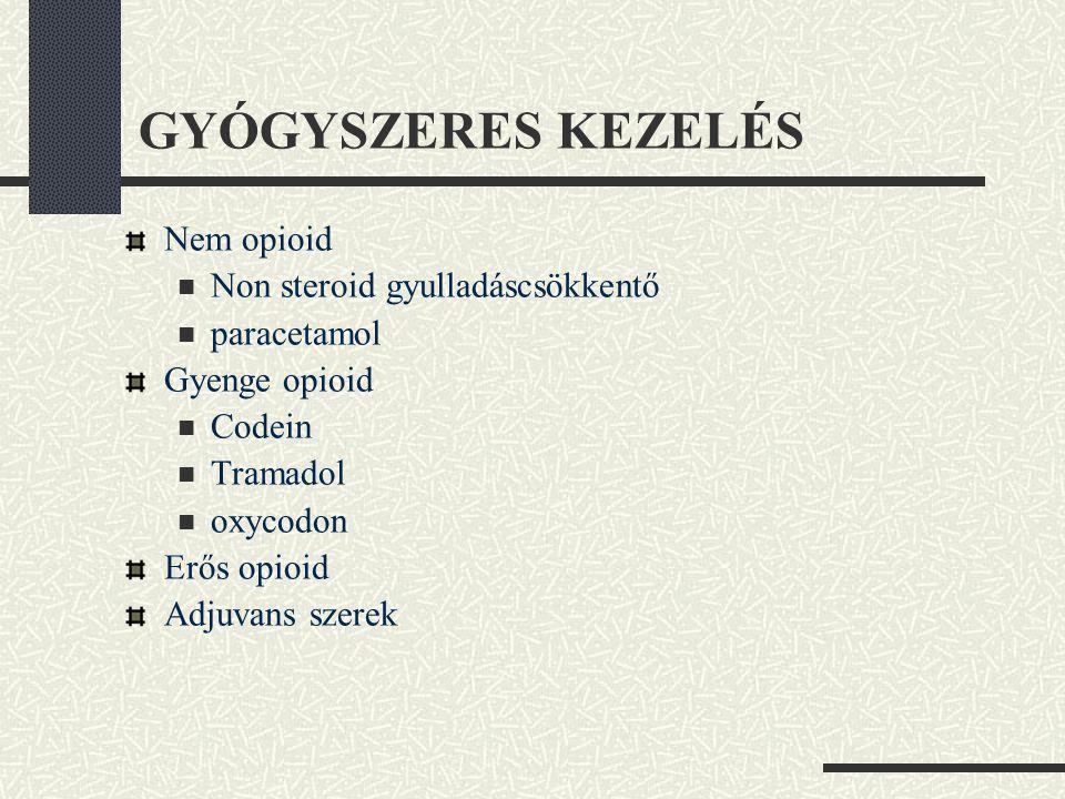 GYÓGYSZERES KEZELÉS Nem opioid  Non steroid gyulladáscsökkentő  paracetamol Gyenge opioid  Codein  Tramadol  oxycodon Erős opioid Adjuvans szerek