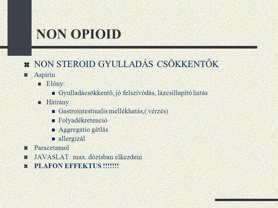 NON OPIOID NON STEROID GYULLADÁS CSÖKKENTŐK Aspirin  Előny:  Gyulladácsökkentő, jó felszívódás, lázcsillapító hatás  Hátrány  Gastrointestinalis m