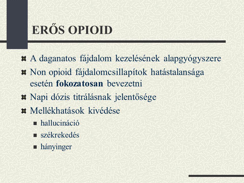 ERŐS OPIOID A daganatos fájdalom kezelésének alapgyógyszere Non opioid fájdalomcsillapítok hatástalansága esetén fokozatosan bevezetni Napi dózis titr