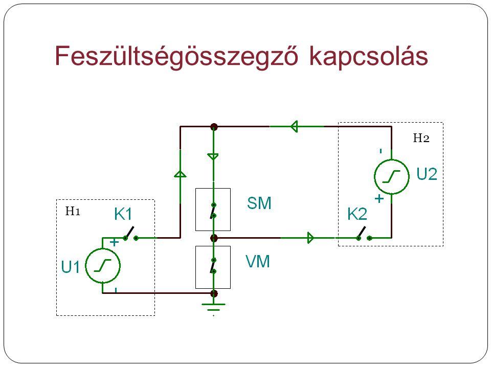 Feszültségösszegző kapcsolás H1 H2