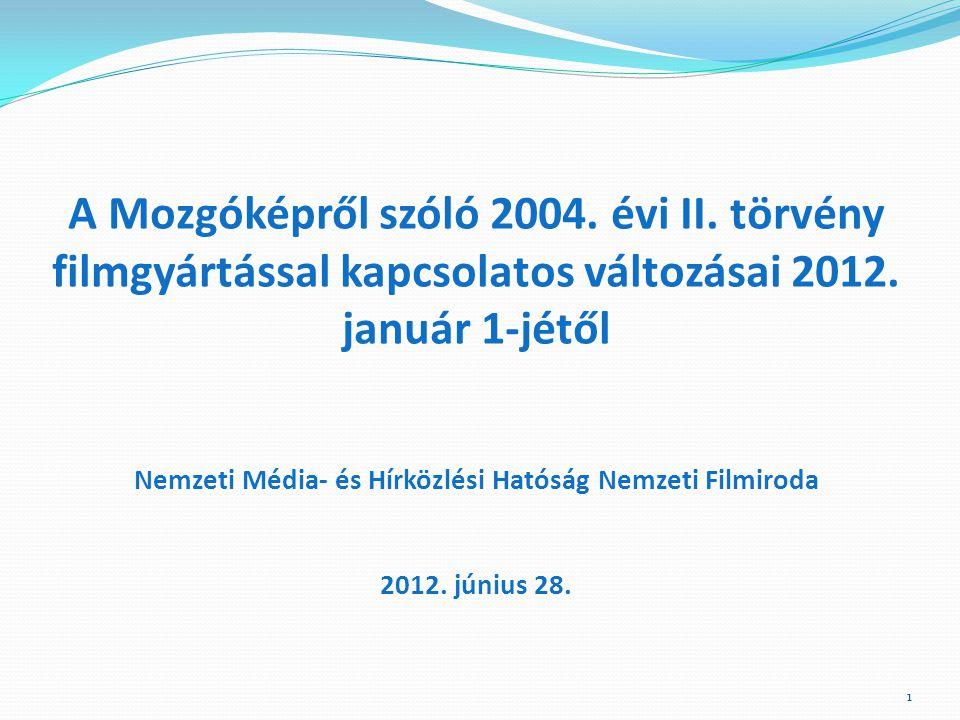 A Mozgóképről szóló 2004. évi II. törvény filmgyártással kapcsolatos változásai 2012.