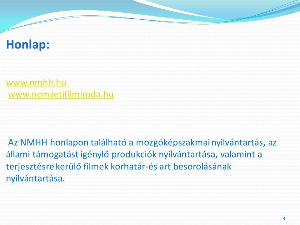 Honlap: www.nmhh.hu www.nemzetifilmiroda.hu Az NMHH honlapon található a mozgóképszakmai nyilvántartás, az állami támogatást igénylő produkciók nyilvántartása, valamint a terjesztésre kerülő filmek korhatár-és art besorolásának nyilvántartása.