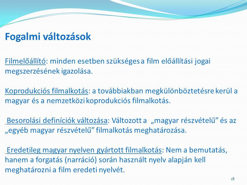 Fogalmi változások Filmelőállító: minden esetben szükséges a film előállítási jogai megszerzésének igazolása.