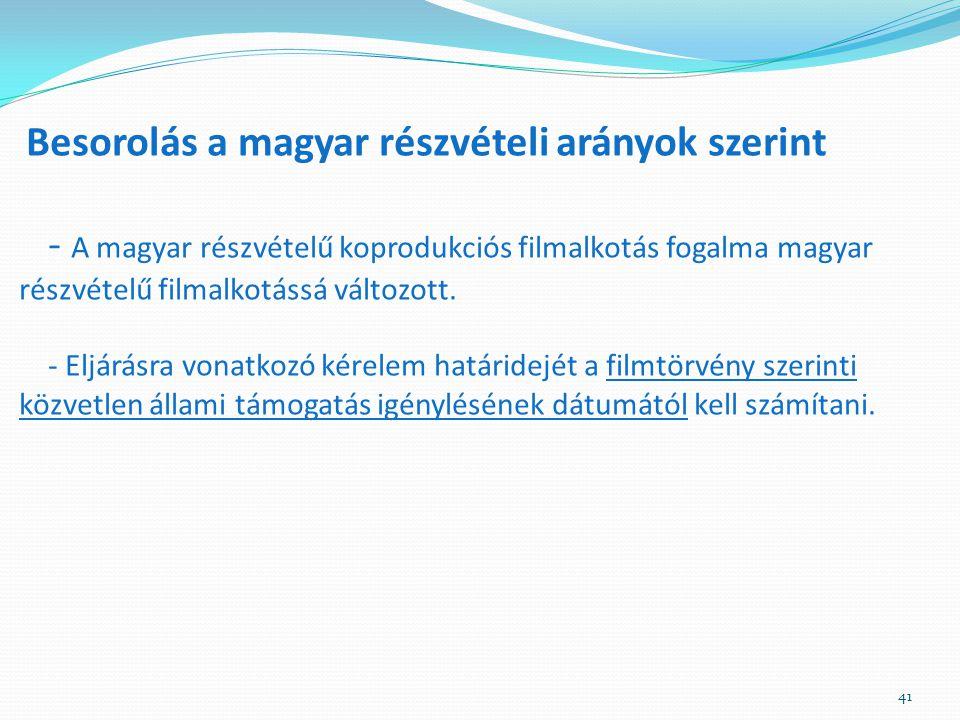Besorolás a magyar részvételi arányok szerint - A magyar részvételű koprodukciós filmalkotás fogalma magyar részvételű filmalkotássá változott.