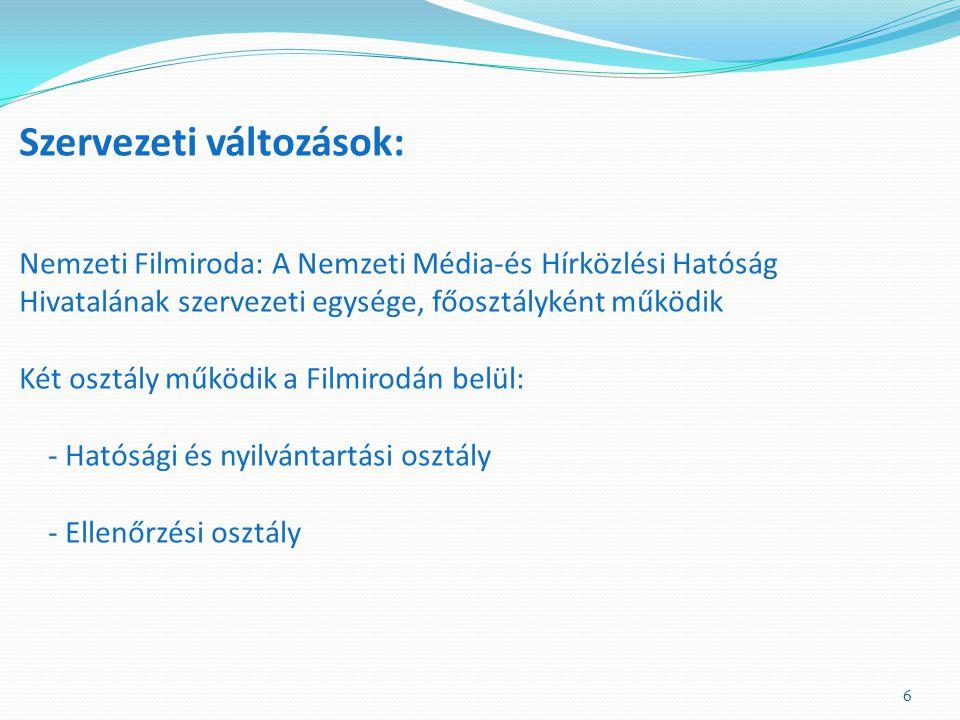 Szervezeti változások: Nemzeti Filmiroda: A Nemzeti Média-és Hírközlési Hatóság Hivatalának szervezeti egysége, főosztályként működik Két osztály működik a Filmirodán belül: - Hatósági és nyilvántartási osztály - Ellenőrzési osztály 6