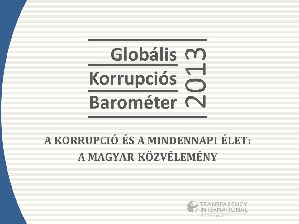 A KORRUPCIÓ ÉS A MINDENNAPI ÉLET: A MAGYAR KÖZVÉLEMÉNY Globális Korrupciós Barométer 2013