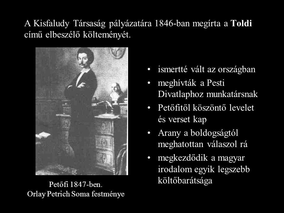 A Kisfaludy Társaság pályázatára 1846-ban megírta a Toldi című elbeszélő költeményét.