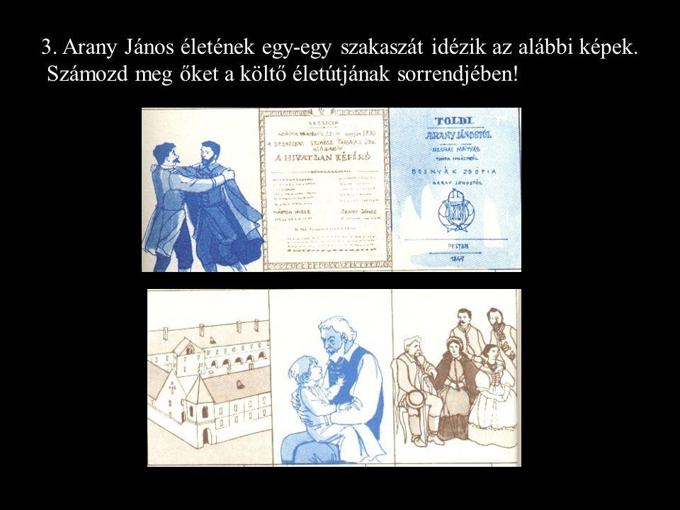 3.Arany János életének egy-egy szakaszát idézik az alábbi képek.