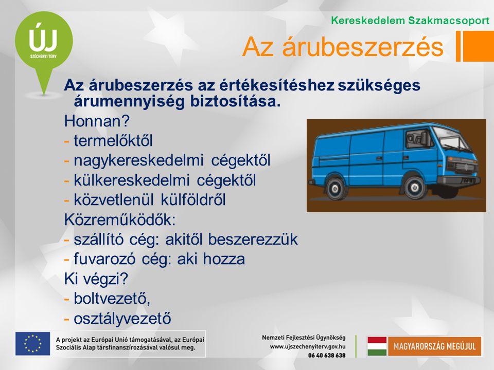 Az árubeszerzési munka lépései: 1.a beszerzendő áruk mennyiségének és összetételének meghatározása 2.a szállítók kiválasztása 3.az áruk megrendelése 4.az áru átvétele 5.az ellenérték kiegyenlítése Kereskedelem Szakmacsoport Az árubeszerzés
