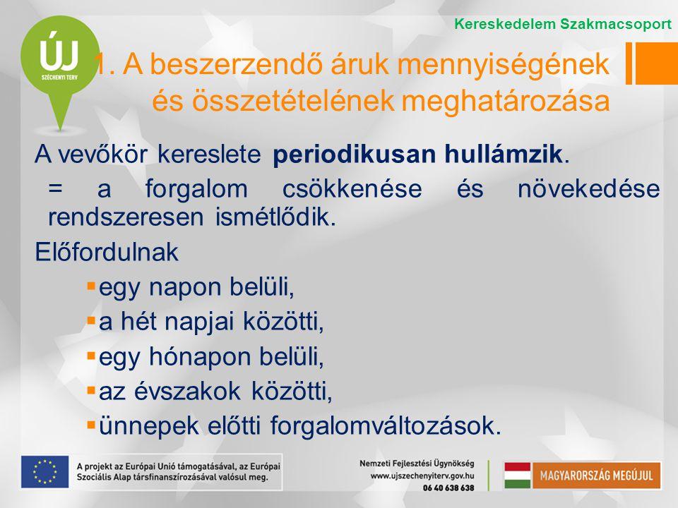 Az áruk minőségi átvétele Ha a szállítmány nagysága és az áru jellege megköveteli  fuvarozó jelenlétében A minőségi átvétel kiterjed: -a szállítólevélen feltüntetett minőségű-e az áru, -eltarthatósági idő ellenőrzése -kellékek ellenőrzése (magyar nyelvű címke; használati, kezelési útmutató; minőségi bizonyítvány; megfelelőségi nyilatkozat) -érzékszervi vizsgálat Kereskedelem Szakmacsoport 4.