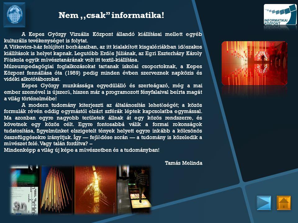 """Nem,,csak"""" informatika! A Kepes György Vizuális Központ állandó kiállításai mellett egyéb kulturális tevékenységet is folytat. A Vitkovics-ház felújít"""