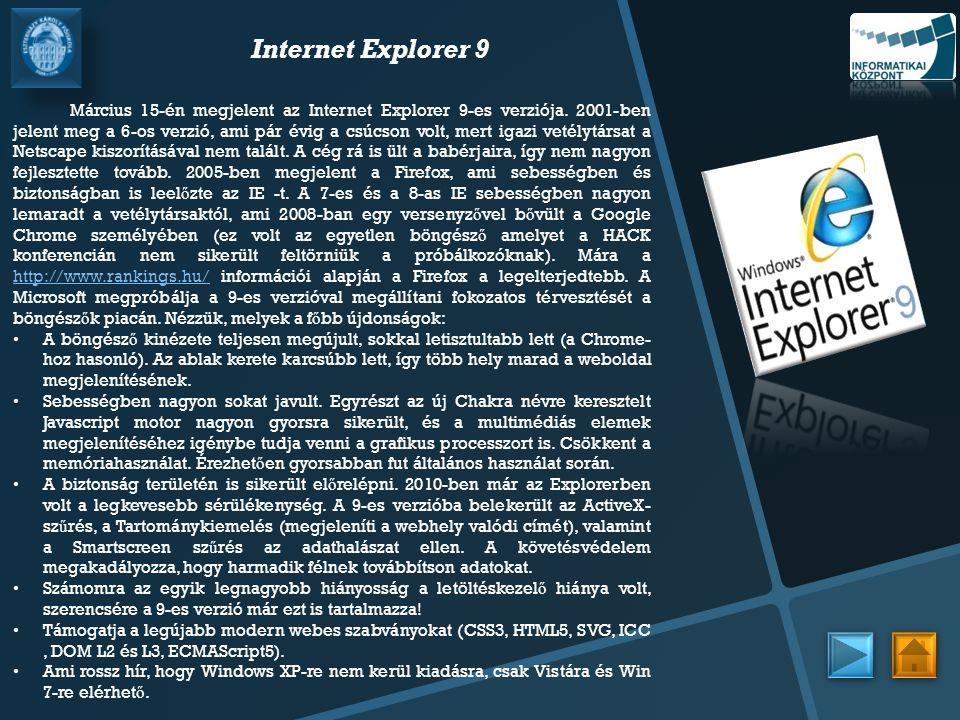 Internet Explorer 9 Március 15-én megjelent az Internet Explorer 9-es verziója. 2001-ben jelent meg a 6-os verzió, ami pár évig a csúcson volt, mert i