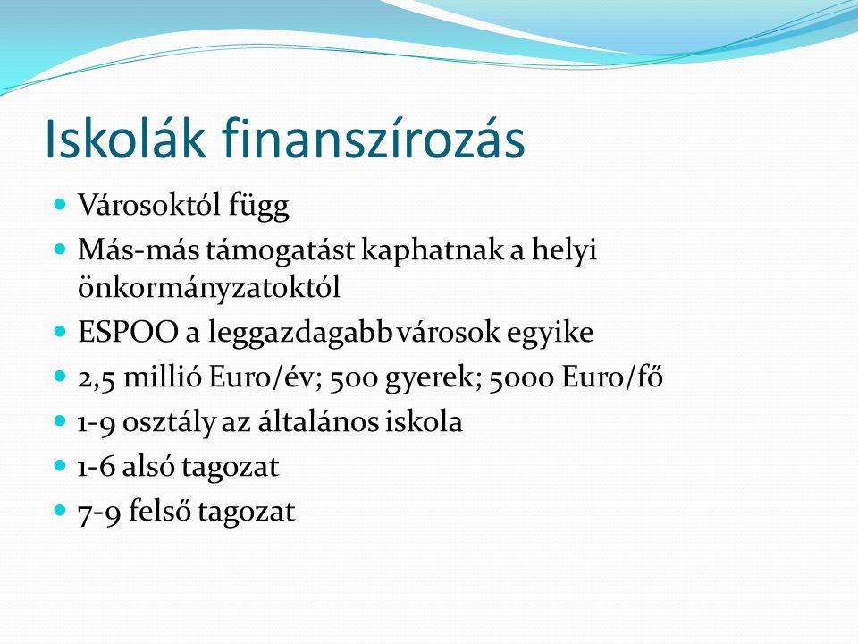 Iskolák finanszírozás  Városoktól függ  Más-más támogatást kaphatnak a helyi önkormányzatoktól  ESPOO a leggazdagabb városok egyike  2,5 millió Eu