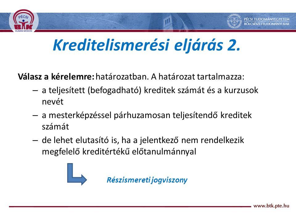 Kreditelismerési eljárás 2.Válasz a kérelemre: határozatban.