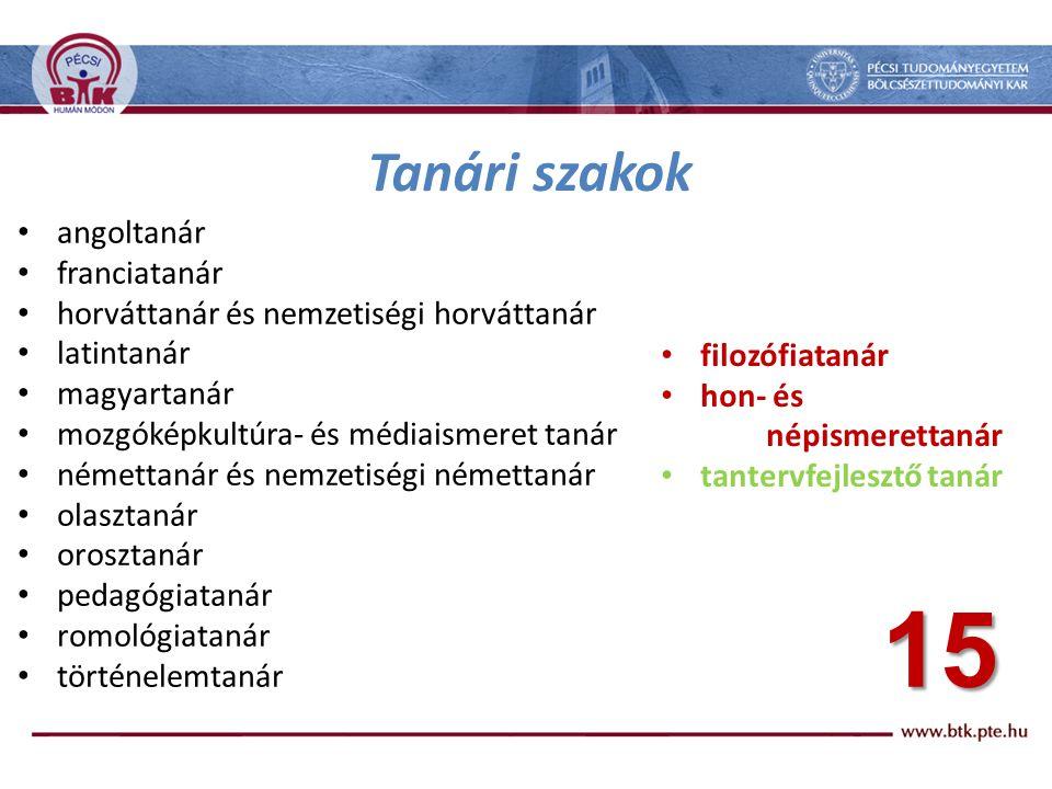 Bemeneti feltételek a diszciplináris szakokra • Jogszabály: 15/2006.