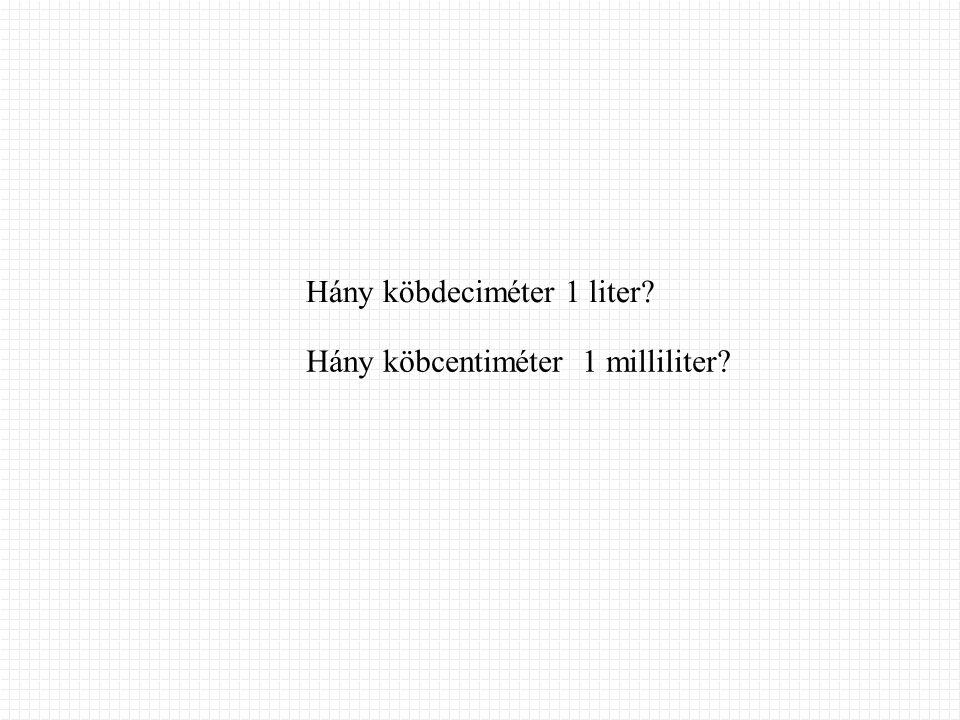 Hány köbdeciméter 1 liter? Hány köbcentiméter 1 milliliter?