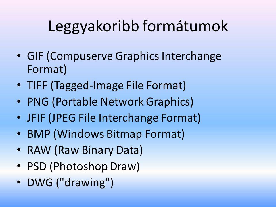 Leggyakoribb formátumok • GIF (Compuserve Graphics Interchange Format) • TIFF (Tagged-Image File Format) • PNG (Portable Network Graphics) • JFIF (JPEG File Interchange Format) • BMP (Windows Bitmap Format) • RAW (Raw Binary Data) • PSD (Photoshop Draw) • DWG ( drawing )