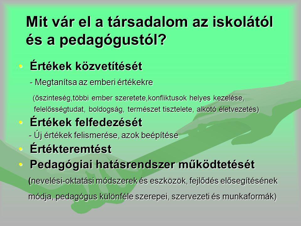 Mit vár el a társadalom az iskolától és a pedagógustól? •Értékek közvetítését - Megtanítsa az emberi értékekre (őszinteség,többi ember szeretete,konfl
