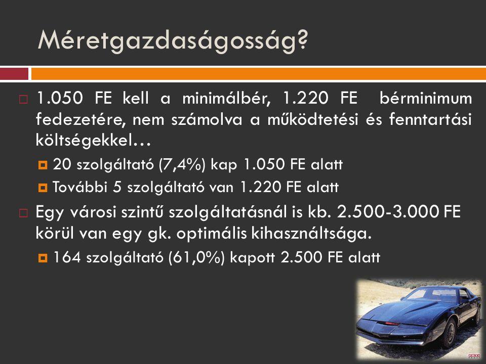 Méretgazdaságosság?  1.050 FE kell a minimálbér, 1.220 FE bérminimum fedezetére, nem számolva a működtetési és fenntartási költségekkel…  20 szolgál