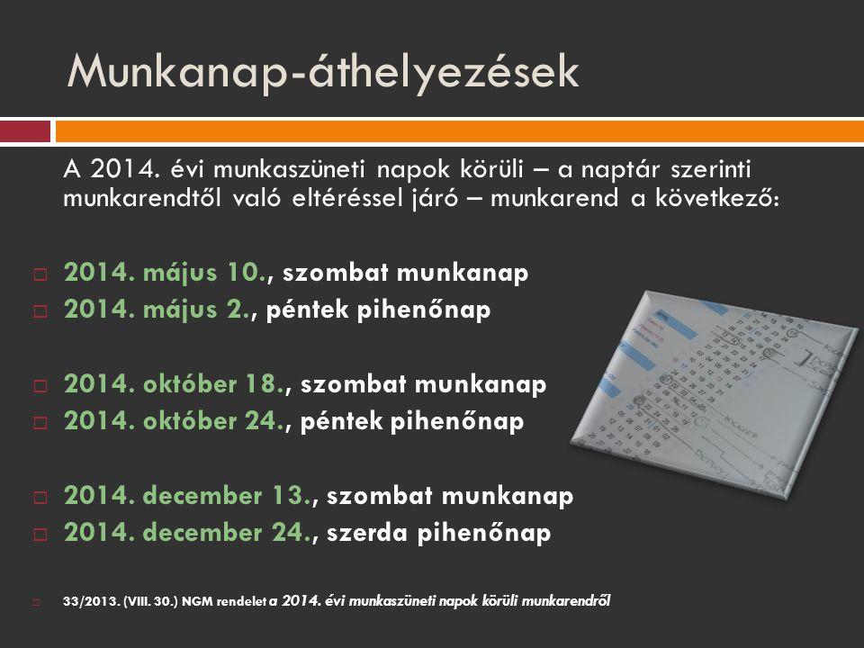 Munkanap-áthelyezések A 2014. évi munkaszüneti napok körüli – a naptár szerinti munkarendtől való eltéréssel járó – munkarend a következő:  2014. máj