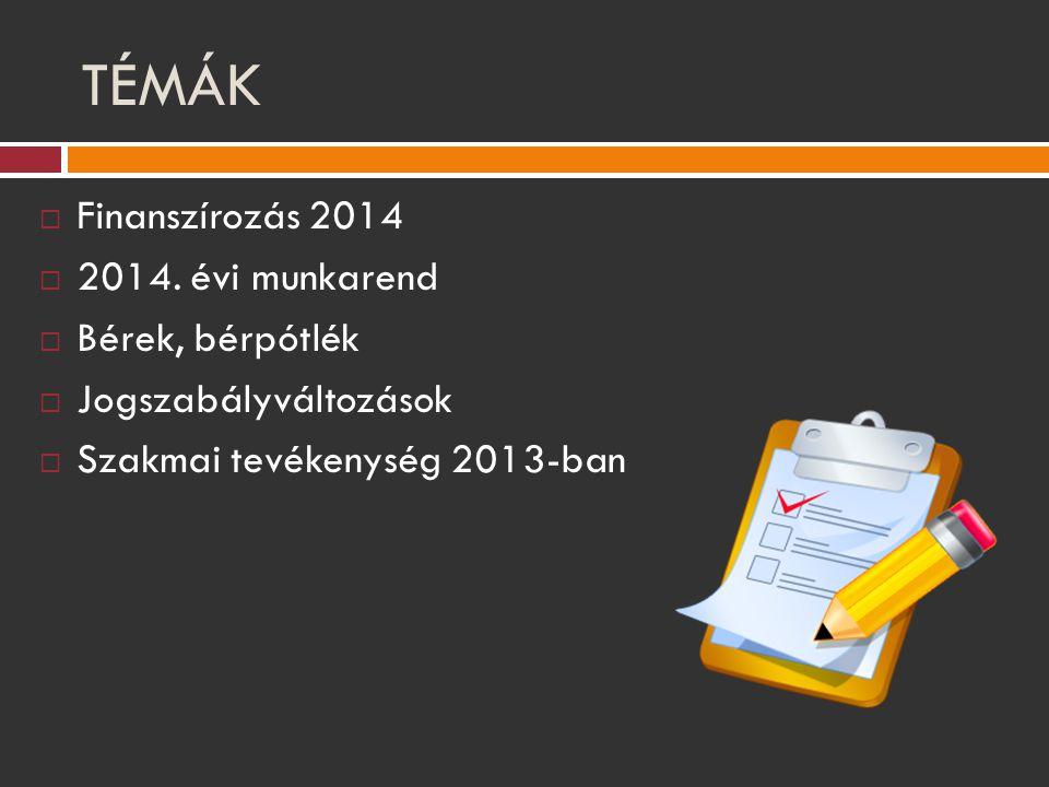 TÉMÁK  Finanszírozás 2014  2014. évi munkarend  Bérek, bérpótlék  Jogszabályváltozások  Szakmai tevékenység 2013-ban
