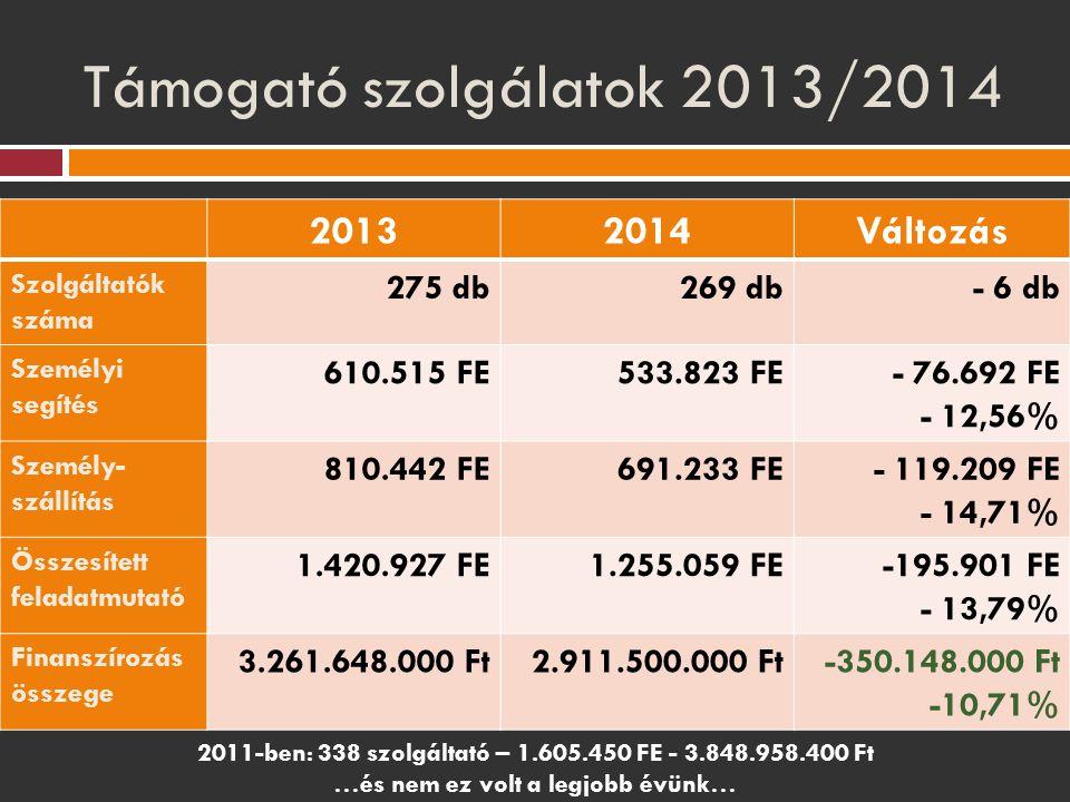 Támogató szolgálatok 2013/2014 20132014Változás Szolgáltatók száma 275 db269 db- 6 db Személyi segítés 610.515 FE533.823 FE- 76.692 FE - 12,56% Személ