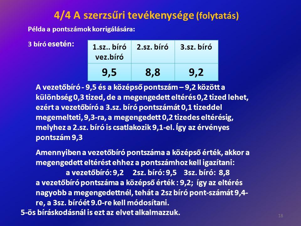 18 A vezetőbíró - 9,5 és a középső pontszám – 9,2 között a különbség 0,3 tized, de a megengedett eltérés 0,2 tized lehet, ezért a vezetőbíró a 3.sz. b