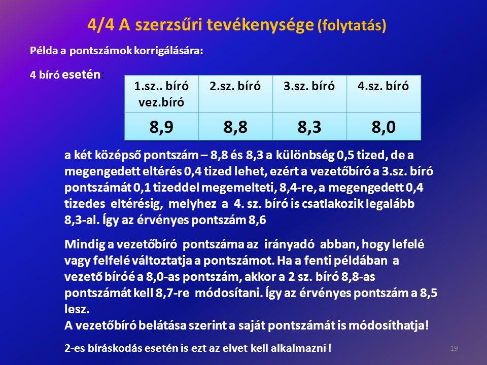 19 a két középső pontszám – 8,8 és 8,3 a különbség 0,5 tized, de a megengedett eltérés 0,4 tized lehet, ezért a vezetőbíró a 3.sz. bíró pontszámát 0,1