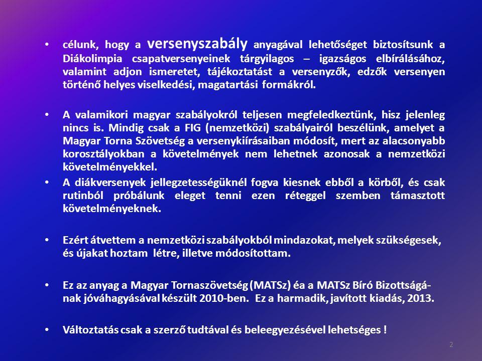 Szabálykönyv a Diákolimpia csapat- és egyéni bajnokság résztvevői számára.