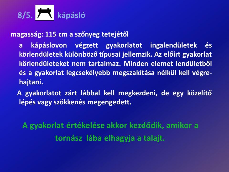 8/5. kápásló magasság: 115 cm a szőnyeg tetejétől a kápáslovon végzett gyakorlatot ingalendületek és körlendületek különböző típusai jellemzik. Az elő