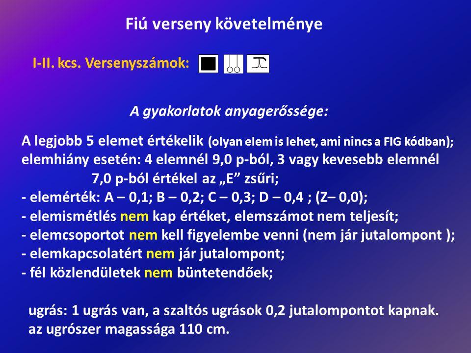 A legjobb 5 elemet értékelik (olyan elem is lehet, ami nincs a FIG kódban); elemhiány esetén: 4 elemnél 9,0 p-ból, 3 vagy kevesebb elemnél 7,0 p-ból é