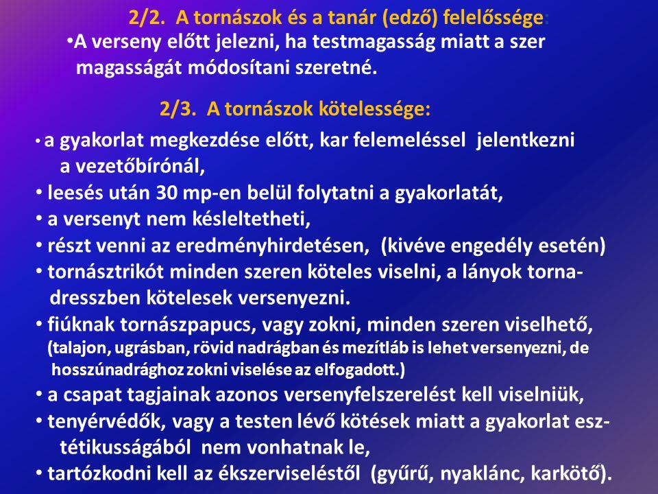 8 2/2. A tornászok és a tanár (edző) felelőssége: • A verseny előtt jelezni, ha testmagasság miatt a szer magasságát módosítani szeretné. 2/3. A torná