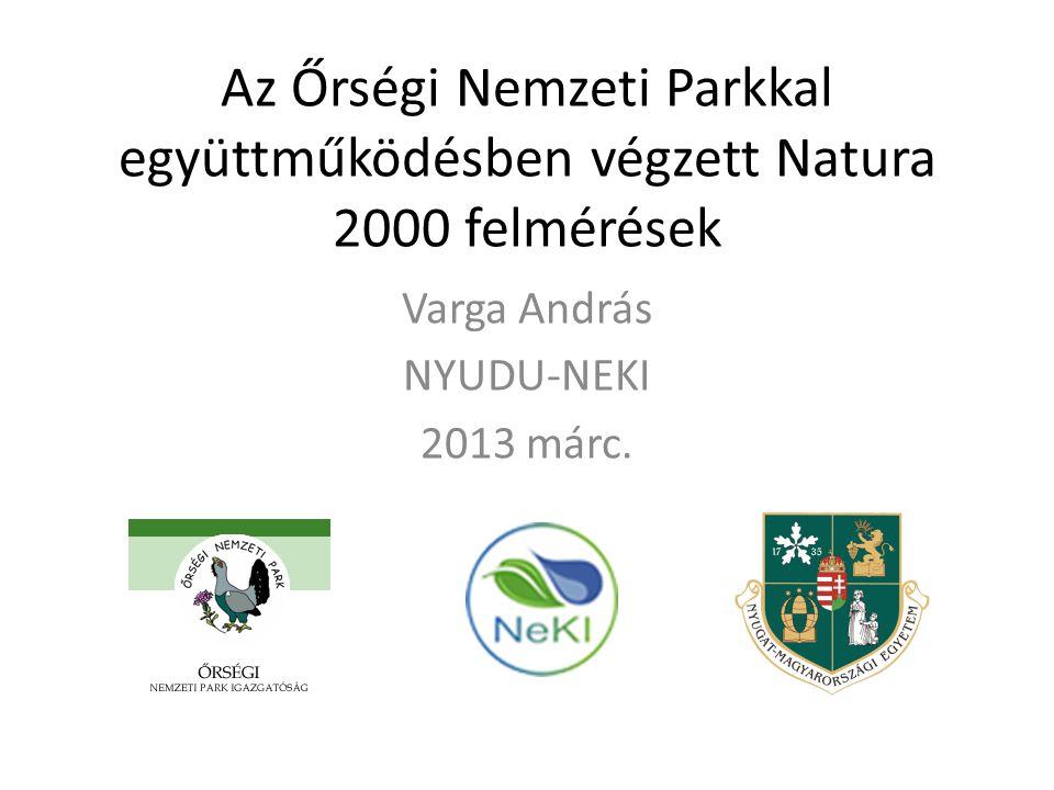 A Natura 2000 területek zoológiai és botanikai felmérése az ÖNPI illetékességi területén A felmérés résztvevői: • ÖNPI • NyME-TTK • NyDu-NEKI Éves ütemtervek szerint évente más-más Natura 2000 területeken TEREPI ADATGYŰJTÉS TÉRINFORMATIKAI RÖGZÍTÉS ADATBÁZISBA RÖGZÍTÉS JELENTÉSEK, KEZELÉSI TERVEK HATÓSÁGI JOGALKALMAZÁSI MUNKA ELŐSEGÍTÉSE NATURA TERÜLETEKKEL KAPCSOLATOS FELADATOK Natura 2000 Élőhelyvédelmi Irányelv szerinti jelentés Natura 2000 Madárvédelmi Irányelv szerinti jelentés Natura 2000 területek megőrzését szolgáló intézkedési tervek készítése