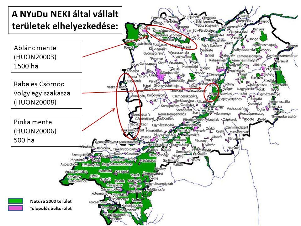 Ablánc mente (HUON20003) 1500 ha Pinka mente (HUON20006) 500 ha Rába és Csörnöc völgy egy szakasza (HUON20008) Natura 2000 terület Település belterüle