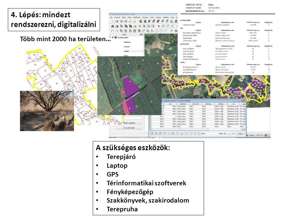 4. Lépés: mindezt rendszerezni, digitalizálni A szükséges eszközök: • Terepjáró • Laptop • GPS • Térinformatikai szoftverek • Fényképezőgép • Szakköny