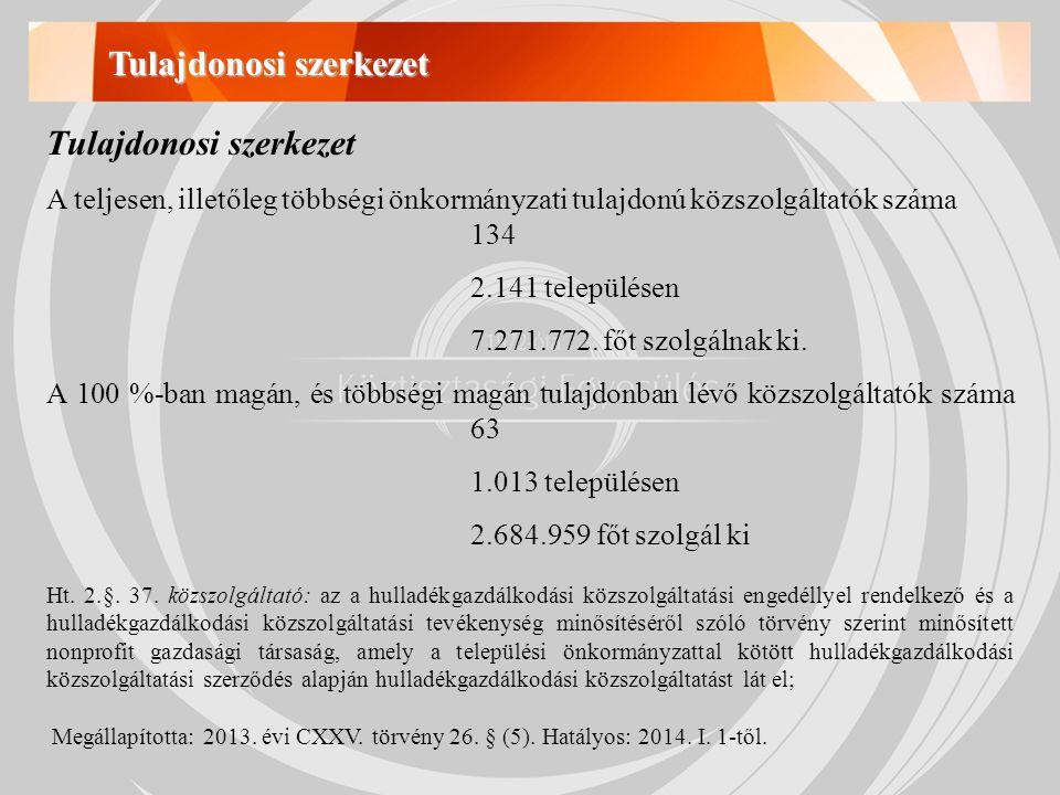 Tulajdonosi szerkezet A teljesen, illetőleg többségi önkormányzati tulajdonú közszolgáltatók száma 134 2.141 településen 7.271.772.